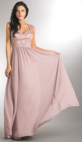 V-Neck Lace Top Empire Cut Long Bridesmaid Dress. a816.