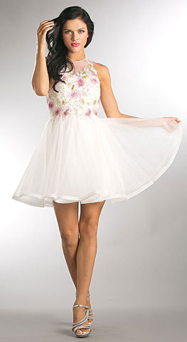 Floral Lace Bodice Short Tulle Homecoming Dress. a819.