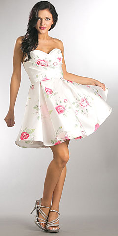 Strapless Sweetheart Neck Rose Print Short Homecoming Dress. a821.
