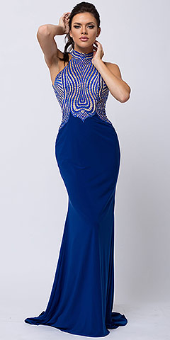 High Halter Neck Two-tone Bejeweled Top Long Prom Dress. a823.