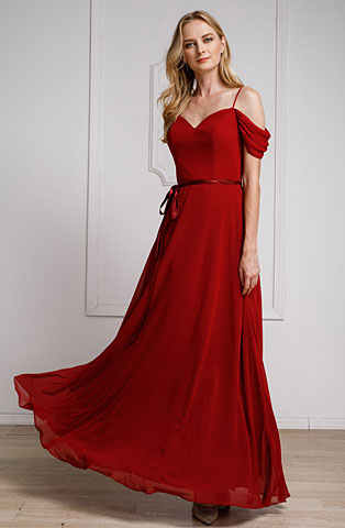 Spaghetti Straps Cold-shoulder Long Bridesmaid Dress. a824.