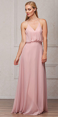 Spaghetti Straps V-Neck Blouson Top Long Bridesmaid Dress. a825.