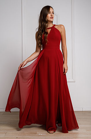 High Round Neck Princess Cut Long Bridesmaid Dress. a826.