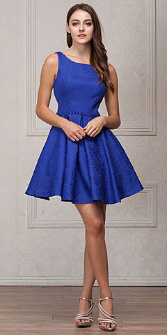 Boat Neck Jewel Waist Pleated Puffy Skirt Short Party Dress. a827.