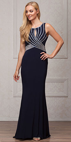 Alluring Sequins Bodice Keyhole Back Long Prom Dress. a828.