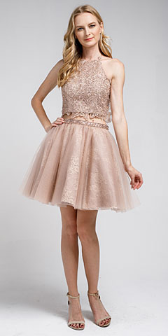 Dazzling Embroidered Two Piece Halter Short Homecoming Dress. a916s.
