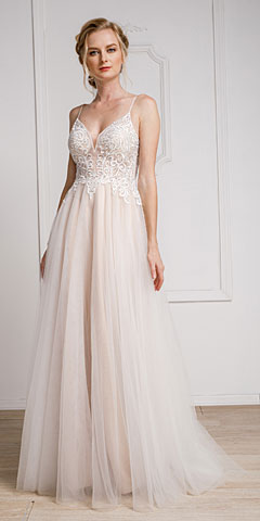 Spaghetti Lace Embroidered Prom Dress. a921.