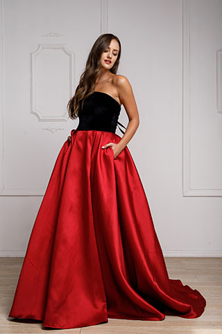 Off Shoulder Long Puffy Formal Dress. a924.