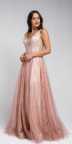 V Neck Vines Pattern Tulle Prom Gown. ar010.