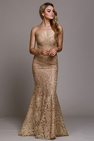 Embroidered Criss-Cross Back Fitted Pageant Gown. ar015.