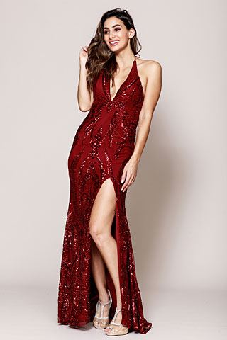 Halter Neck High Slit Prom Gown. ar023.