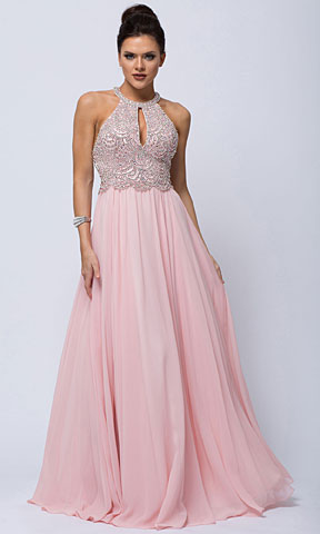 Sleeveless Beaded Prom Dress with High Neckline
