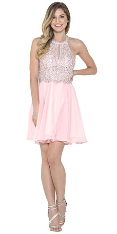 Halter Neck Beaded Bust Short Chiffon Prom  Dress. asu022.