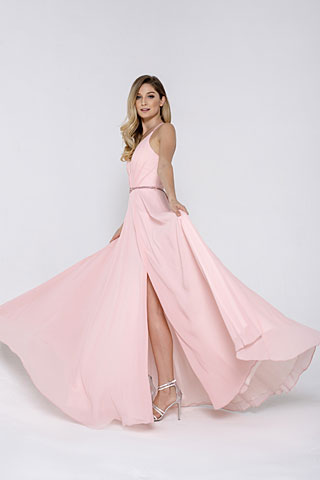 V-Neck Rhinestones Belt Front Slit Long Bridesmaid Dress. asu026.