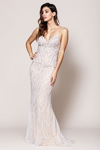 Sequin Beaded Prom Gown with V Neckline