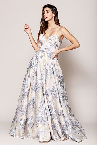 Floral Print and Embroidered Flared A-Line Prom Gown. asu065.