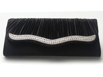 Pleated Eveing Bag with Rhinestones Trim. c020.
