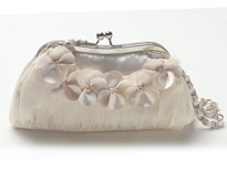 Floral Chiffon Evening Bag with Chain Shoulder Strap. c025.