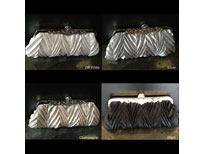 Patterned Satin Evening Bag with Metal Trim. c030.