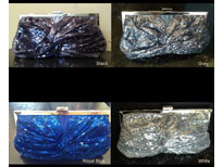Front Twist Sequined Evening Bag with Metal Trim. c031.