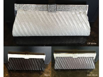 Diagonal Patterned Evening Bag with Rhinestones Metal Trim. c035.