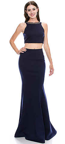 Beaded Neck Crop Top Fitted Skirt Two-Piece Prom Dress. c2030.