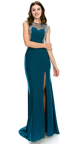 Boat Neck Bejeweled Sides Long Formal Prom Dress. c2106.