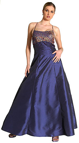 Criss Crossed Brocade Beaded Prom Dress. c2120.