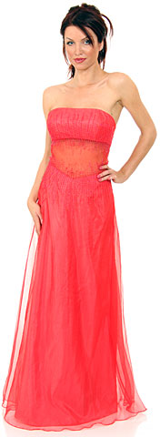 Semi See-Thru Mid Bodice Beaded Prom Dress
