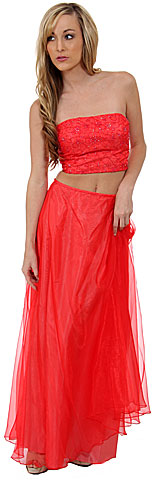 Criss Crossed Strapless 2 pc Dress. c2191.