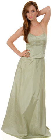 Criss Crossed 2 pc Beaded Bridesmaid Dress. c2203.