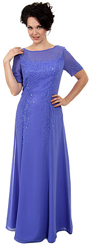 Sheer Short Sleeved Beaded Long Formal Gown. c2213.