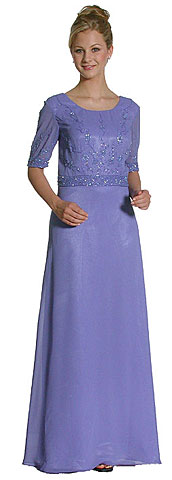 A Shape Half-Sleeved Beaded Long Evening Gown. c6001.