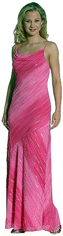 Cowl Neck Spaghetti Straps Sequined Ombre Formal Dress. c2244.