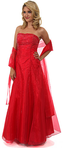 Strapless A-line Layered Beaded Organza Prom Dress. c26218b.
