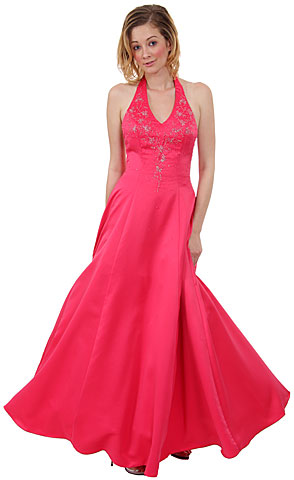 Beaded Halter-Neck Quinceanera Dress. c26472.