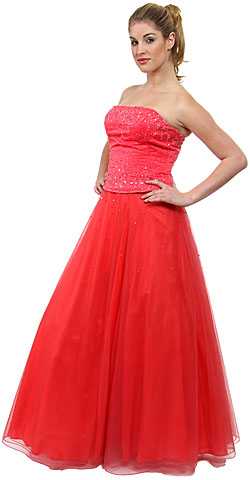 Watermelon A-Line Beaded Quinceanera Dress. c26657.