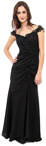 Ruffle Beaded Formal Dress. c27322.