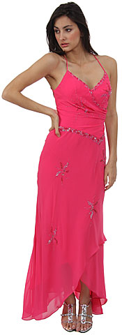 Spaghetti Prom Dress w/ Criss-Crossed Back. c27326.