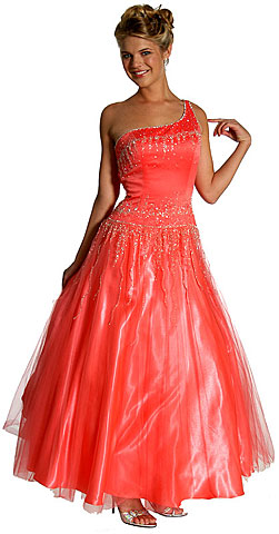 Single Shoulder & Silver Beaded Prom Dress. c27334.
