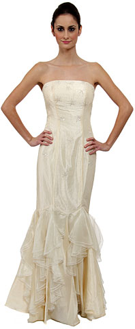 Strapless Beaded Mermaid Style Formal Wedding Dress. c27342-w.