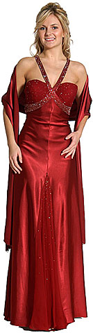 V-Strapped Beaded Long Formal Prom Dress