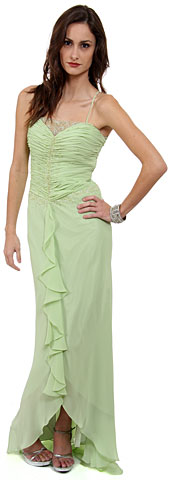 Ruffled Beaded Full Length Formal Prom Dress