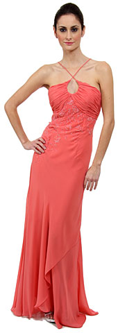 Keyhole Ruched Bust Beaded Formal  Prom Dress. c27761.