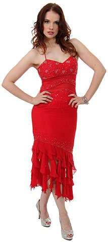 Halter Neck Beaded Formal Party Dress with Ruffled Hem. c27776.