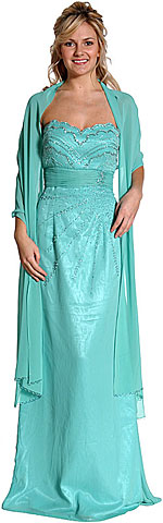 Strapless Beaded Full Length Prom Dress. c27786.