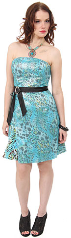 Strapless Animal Print Short Party Dress with Sheer Overlay. c6389.