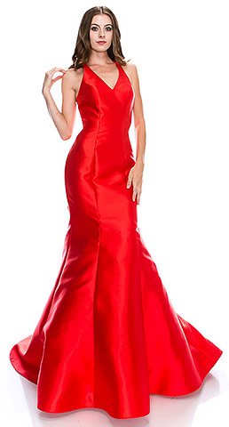 Halter Neck Ruffled Back Floor Length Pageant Dress. cc3007.