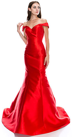 Off-Shoulder Mermaid Skirt Long Prom Pageant Dress. cc3016.