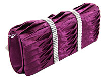 Rhinestone Embellished Satin Evening Bag in Purple. ch-1003-ppl.